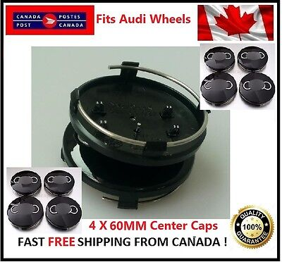 Fits Audi Wheels CENTER WHEELS  RIMS HUBS CAPS 60MM BLACK Silver Circle Univesal