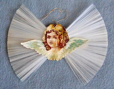 Antique German Double Sided Spun Glass Christmas Tree Ornament With Angel 1910s