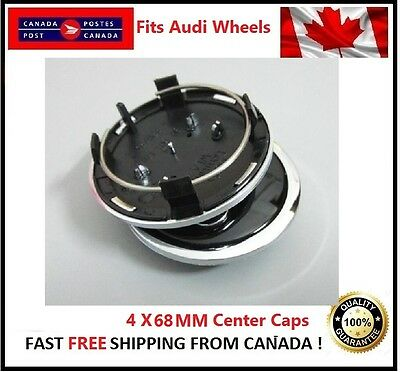 Fits Audi Wheels CENTER WHEELS RIMS HUBS CAPS 68MM 69MM BLACK Silver Circle