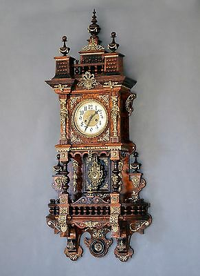 Beautiful  GUSTAV BECKER Balcony Wall Clock with Ornaments of Bronze