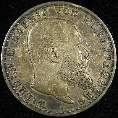 1903-F Germany German States Wurttemberg Wilhelm II Old Silver 5 Mark Coin