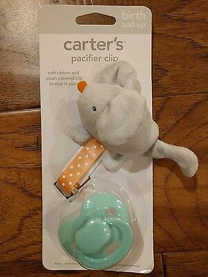 New Carter's Baby Pacifier Clip Mouse Gray Plush Clip with Ribbon NWT Girl