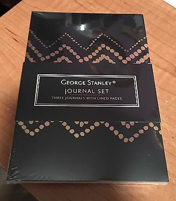 George Stanley 3-Pk Mini Journal Set w Lined Pages Black Gold New SEALED!