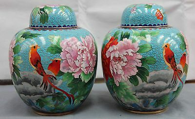 8 Palace Copper Cloisonne Enamel Wealth Peony flower bird tank Jar Pot Vase Pair