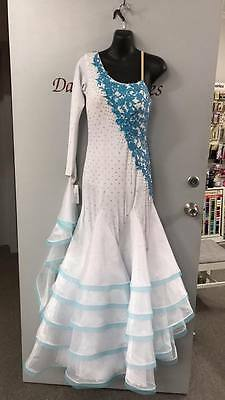 white with blue trim ballroom dancing dress size 12-14
