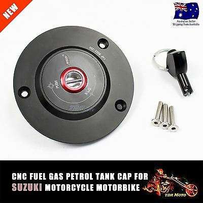 Black CNC Fuel Gas Cap Key Suzuki Cap (3 Bolts) for Suzuki GSXR 1000 2003-2013