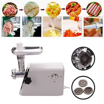 Electric Meat Grinder Stainless Steel Sausage Kubbe Attachment w/3 Blade 1300W