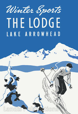 The Lodge at Lake Arrowhead, Skiing & Winter Sports - 1920's Advertising Poster