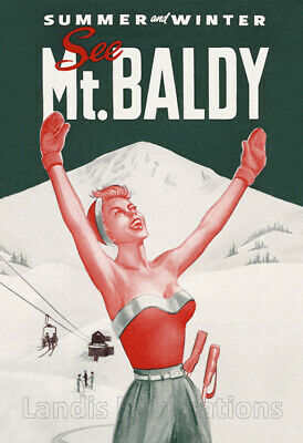 Mount Baldy Skiing & Winter Sports - 1950's Advertising Poster