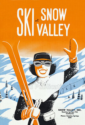 Snow Valley - Big Bear Skiing & Winter Sports - 1950's Advertising Poster