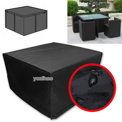 4 Seater Rattan Cube Table Chairs Set Waterproof Rain Dust UV Cover Protector UK