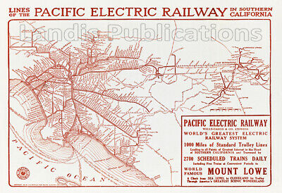 Pacific Electric Railway Map 1913 with Mount Lowe Advertisement
