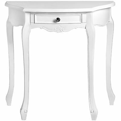 Stylish French Country White Wooden Console Living Room Hallway Half Moon Table