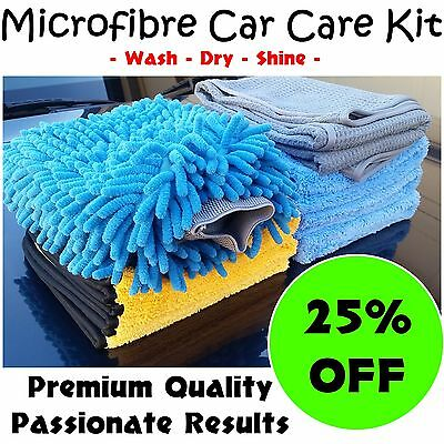 Microfibre Car Care & Detailing Kit includes 6x cloths,dryin towel and wash mitt