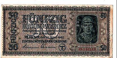 Ukraine 50 Karbowanez Wwii German Occupation 1942 Old Banknote