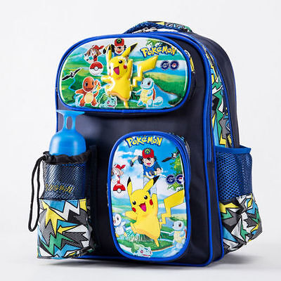 Pokemon Go Monster Pikachu Large School Backpack Book Boys Girl Bag With Bottle