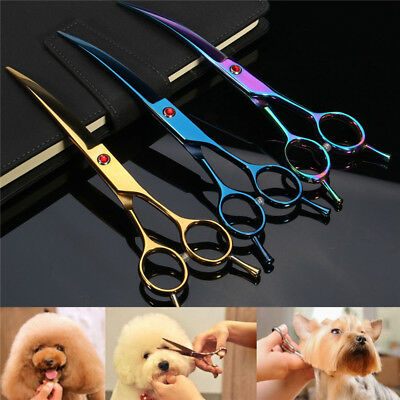 7 Inch Professional Pet Dog Grooming Scissors Hair Cutting Curved Tip Shear Clip