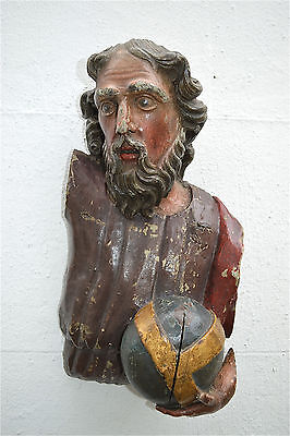 Superb antique hand carved oak polychrome figure of an apostle or saint c.1800