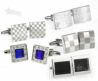 MEN'S SILVER CUFFLINKS GOLD STAINLESS STEEL WEDDING CUFF LINKS Personalised Gift