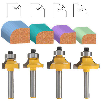 4Pcs Round Over Edging Router Bit Set 1/4'' Shank 1/2'' 3/8'' 1/4'' 1/8'' Radius