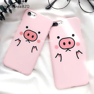 Cartoon Candy Color Pig Frosted Hard PC Phone Case For iPhone 5 SE 6 7 8 Plus