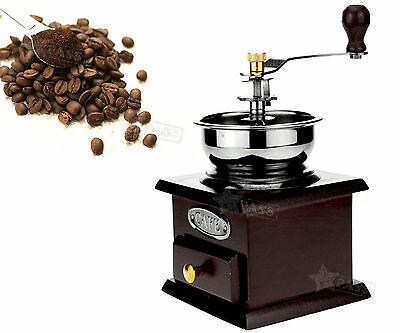 Brown Stainless Steel Blades Wooden Manual Handle Coffee Bean Burr Grinder Cafe