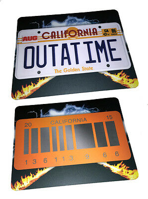 Back to the Future Mousepad - OUTATIME & BARCODE Licence Plate - Mouse Mat