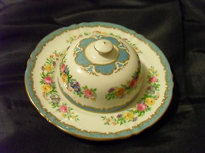 Crown Staffordshire Lyric/tunis Bone China Floral Mini Round Covered Butter Dish