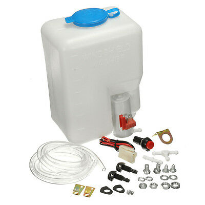 1X Universal Windshield Washer Bottle Kit Cleaning Tool Pump For Classic Car 12V