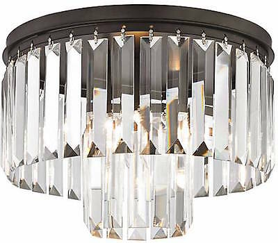Crystal Fringe 1920's Rustic Vintage Style Odeon Chandelier Flush Mount New