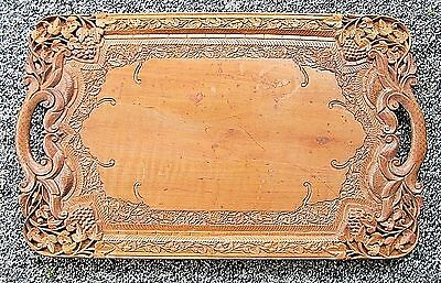 Antique Victorian Wooden Carved Tray~Beautiful Designs Grapes & Scrolls