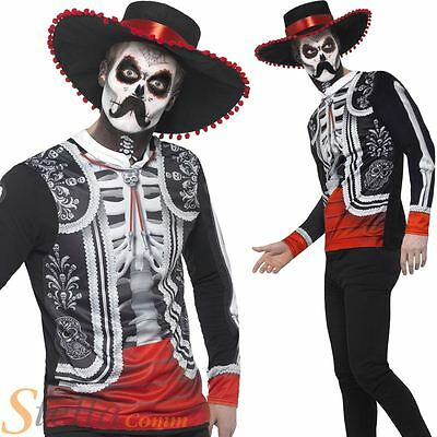 Mens Day Of The Dead Costume El Senor Halloween Skeleton Fancy Dress Outfit