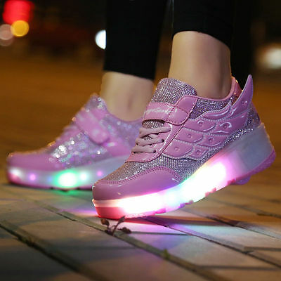 Children LED Light Roller Skate Shoes Angel Wings Kids Sneakers With Wheels