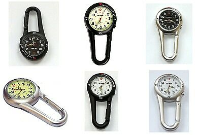 Klox Fob Watch Clip On Carabiner Metal Sports Nurse Various Colours