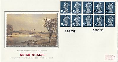 (99938) GB PPS £1.40 Booklet Pane 14p Windsor 11 October 1988