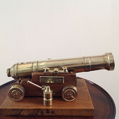 Vintage  H M S Victory Style Large Bronze Metal Model Cannon