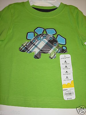 Jumping Beans 6 Mo Boys Infant Short Sleeve T-Shirt Top Plaid Dinosaurs NWT NEW