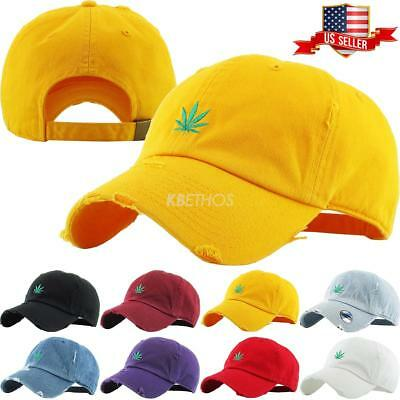 Marijuana Leaf Embroidery Dad Hat Baseball Cap Unconstructed