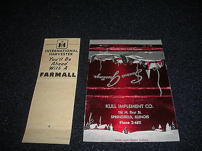 International Harvester and Farmall Match Covers  1950's Original Lot of 2