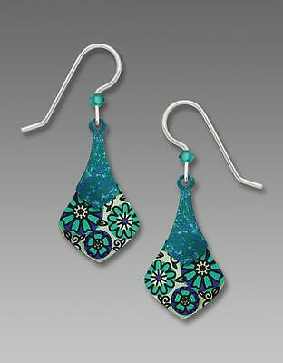 Adajio Earrings Two Part Teal Necktie with Retro Floral Design Handmade in USA