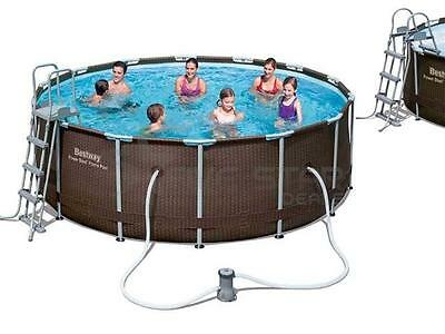 Bestway Rattan Steel Frame Family Pool Set Swimming W/ Ladder, Pump + Cover 14Ft