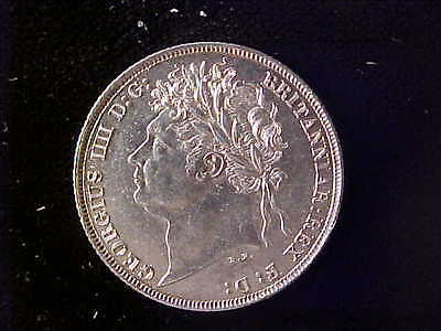 George Iiii Shilling 1821 First Reverse Au-Unc And Scarce This Quality