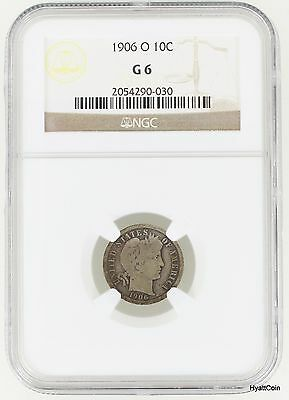 1906-O Barber Silver Dime 10C NGC G6