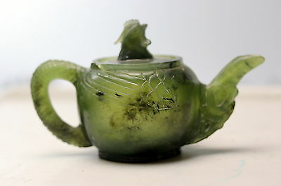 rare Chinese Jade Teapot with Rooster or Chicken Lid