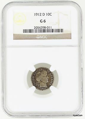 1912-D Barber Silver Dime 10C NGC G6