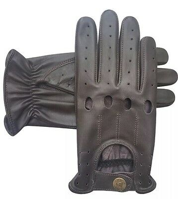 Mens/Ladies Retro Real Leather Driving Gloves Chauffer Gloves