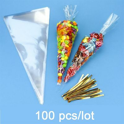 100 Pcs/lot Birthday Party Wedding Cellophane Package Clear Candy Cone Bags