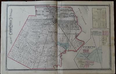 Rare Large Antique Map~Springwells~Michigan~1876~Wayne County~Plymouth~Detroit
