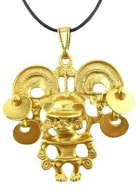 ACROSS THE PUDDLE 24k Gold Plated Pre-Columbian Shaman with Hat Pendant Necklace