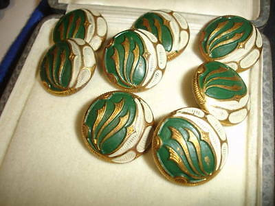 Vintage 1930s art deco green & white painted brass decorative buttons x 8